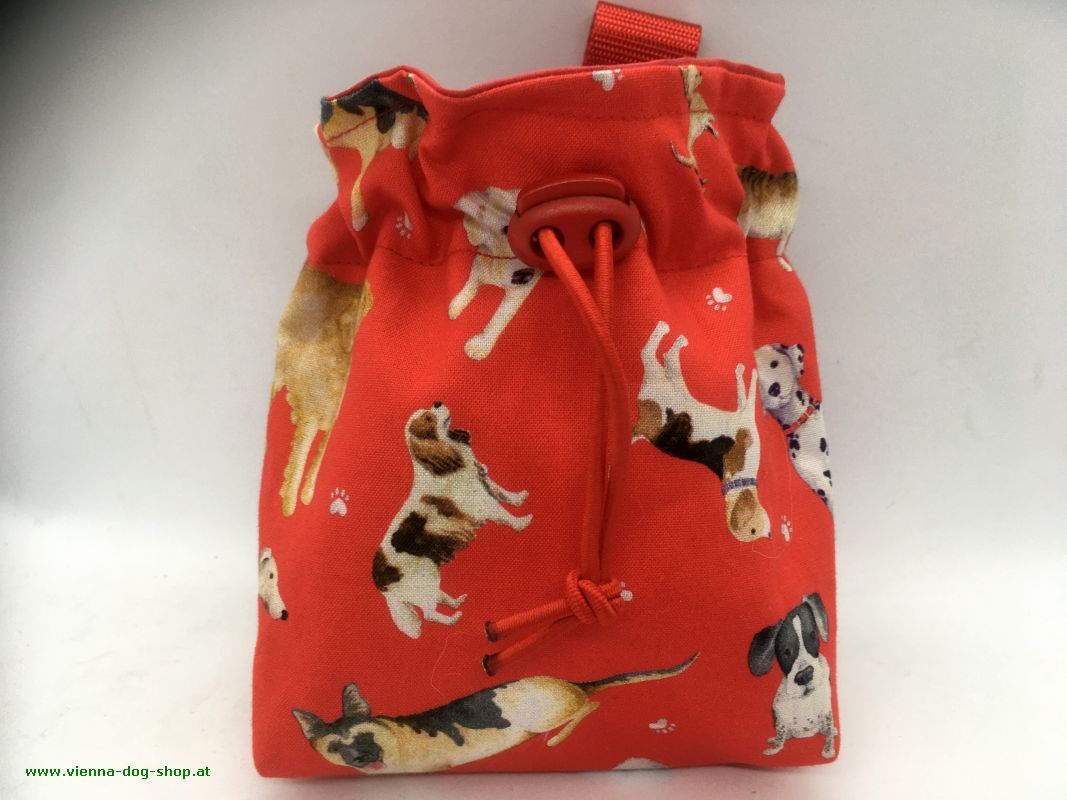 Treat bag DOGS red
