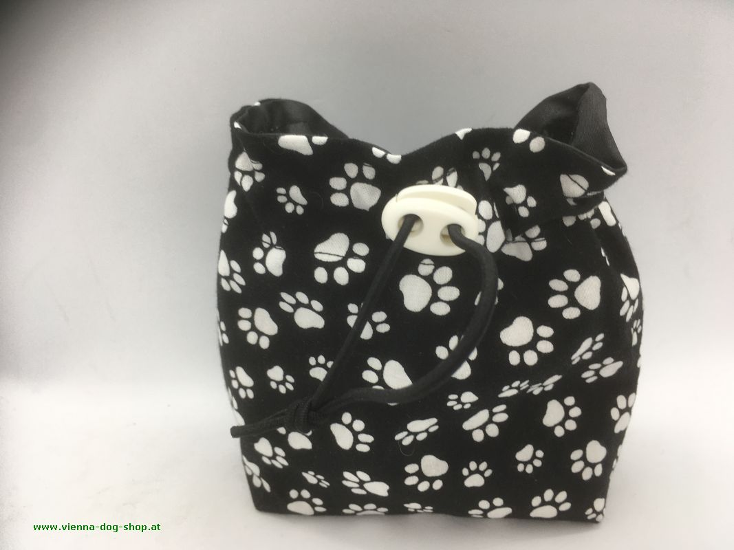 Treat bag WHITE PAWS on black